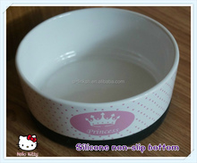 Hot Sale Print Ceramic Silicone Pet Bowl with non-slip bottom