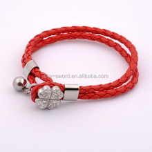 Stock Stainless Steel Bradied Wrap PU Leahter Bracelet With Crystal Closure
