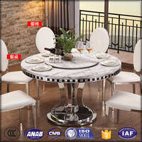korean dining turntable marble round dining table with 6 chairs