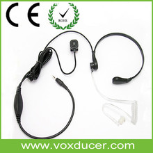 Neck Throat Activated Microphone Air Tube Headset with Vibration Sensor & PTT