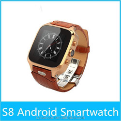 Genuine leather watchband waterproof android smart watch OGS IPS screen dual core 1+8g watches smartphone