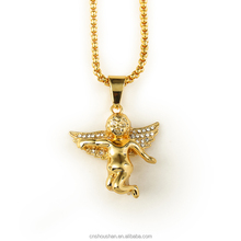 collares largos 2015 trendy Jewelry Hip hop long necklace plated High quality crystal Angel pendant Fashion Gold Chain For Men