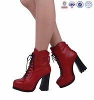 newest ladies lace up platform leather ankle military rubber pointed toe women boots shoes