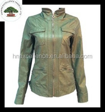 Dark Green with Stand Collar Fashion Lady Short PU Jacket