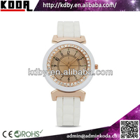 Hot Vogue Rose Gold Crystal Round Soft Silicone Lady Dress Wrist Watch