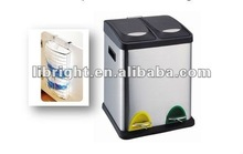 16L Stainless steel pedal dustbin with trash bag holder