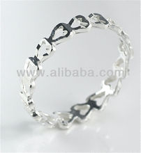 Hearts Band Sterling Silver Ring