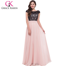 2015 Grace Karin Elegant Design Ladies Backless Chiffon Long Lace Pink Evening Dress With Cap Sleeve CL6152
