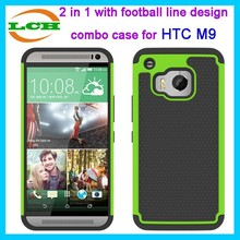2 in 1 with football design silicone and pc combo case for htc one m9