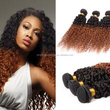 Unique style brazilian two tone color curly hair extension wholesale