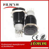 16mm black housing 12vdc violet LED lighting high flat round actuator push button switch illuminated