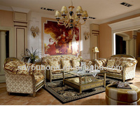 0016Top end Italy design solid wood gold leaf Foshan classic sofa set pictures