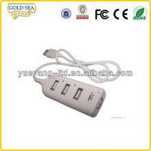 white color 4 ports usb hub/rectangle usb hub/PC peripheral series