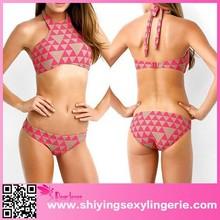 Luxury Wholesale Rosy Nude Geometric Pattern Triangle Bikini miduo swimwear