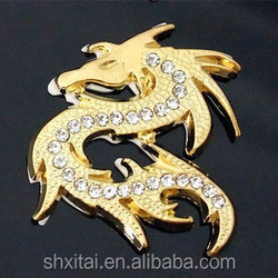 3D Diamond dragon motorcycle adhesive animated metal car stickers Decals