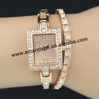 50pcs/lot wholesale price new watches,King girl two laps around the square head diamond bracelet watch