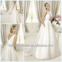 Luxurious soft silk bateau neckline V-back with beaded sash indian wedding dresses