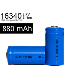 Alibaba hot sell 16340 dry cell rechargeable battery,16340 880mah lithium icr123a cr123a 3v battery Silver and blue cells