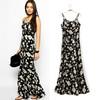 fashion dress 8095 # new European style black harness dress printed rayon dresses