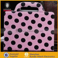polka dot fur leather folio Case for Apple iPad 2 3 4