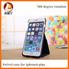 High quality fashion PU Leather 360 degree rotation cover case for iphone6 Plus
