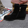 Suede leather women boot Winter ankle shoes warm snow velvet fur work flats martin cowboy motorcycle