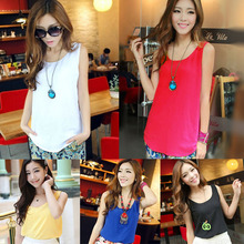Women new fashion chiffon blouse 2014 Sleeveless Shirt Vest Tank Tops Blouse