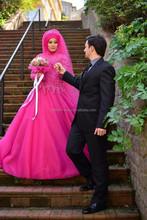 New Fashion Fuchsia Tulle Ball Gown Islamic Wedding Dress Long Sleeve Dubai Wedding Dress With Lace Applique
