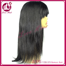 Premier stay permanent hair jet black#1 proof lace front wig with hair bang factual aliexpress brazilian hair