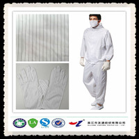 white 5mm stripe anti static fabric for garment / workwear