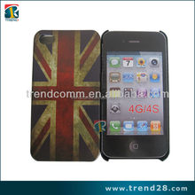 water transfer printing rubber pc flag phone case for iphone 4 4s