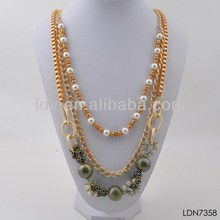 Cuban link chain hip hop necklace multi chain pearl& gem decorated long chain necklace
