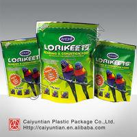 Bird feeding food packaging bag with slide zip lock/high quality printing stand up zipper bag