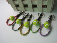 200pcs 6 color pendant tennis rackets keychain with ball fashion accessories souvenir gift DHL Freeshipping