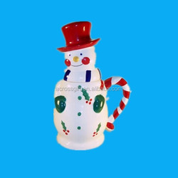 Christmas holiday snowman ceramic candy jar