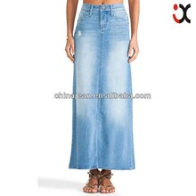 2015 New designer mixed some ripped skirt girl long denim skirt women's denim skirt (JX77002)