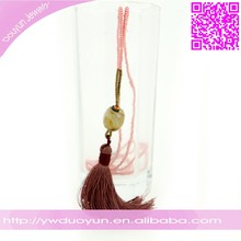 Yiwu Manufacturers Duoyun Design Gypsy Pink Beaded Long Agate Necklace