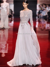 Vintage High Neck Applique Beaded Long Chiffon Evening Dresses with Long Sleeves Prom Gowns 2015 Backless YED001 robe de soiree