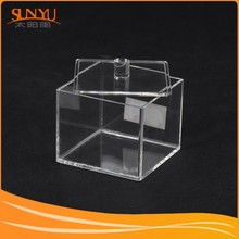 Custom made small cube clear acrylic boxes and cases with handle lid