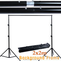 NEW PHOTOGRAPHIC EQUIPMENT Black White Two Backdrops Photo Studio 2m Background Stand Support Free Case