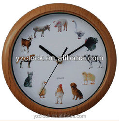 hot selling 10 inch animal sound wall clock