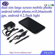 6.5 inch dual sim card phone with bluetooth and gps