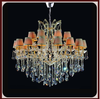 classic fabric crystal chandelier with pendant crystal for wedding lighting lamp 12+6 arms