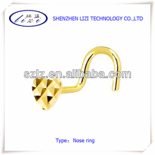 Stainless steel body jewelry golden color nose screw