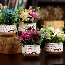 Small ceramic potted plant realistic chrysanthemum artificial flower pots