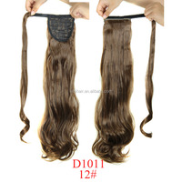 High quality long straight hair end curly wavy synthetic wrap around ponytail