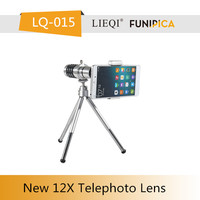 Universal zoom telephoto lens with clip. Clip telescope zoom lens 12X