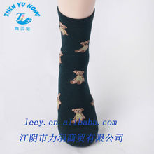 Unisex Calcetines Combed Cotton Tube Knitted and Jacquard Socks Design