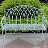 Foldable Blue Wrought Iron Outdoor Bench