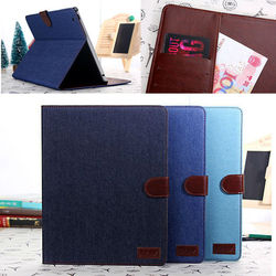 Jeans wallet leather case for ipad 2, for ipad 3 case, case for ipad 4